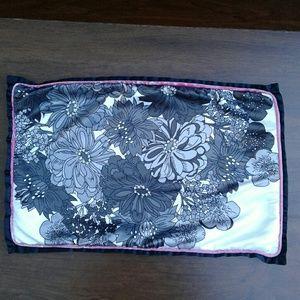 Floral silk throw pillow cover n pink velvet back